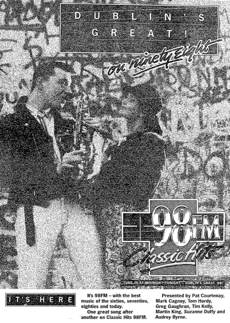 The final minutes of test broadcasts and then the launch of a new rock music station in Dublin. Classic Hits was the second of the new stations for Dublin, arriving on air 10 months after the closure of the nation's pirates. This recording, which is presented exactly as it went out on 98.1MHz,  starts at 11.48pm with the station due to launch at midnight.